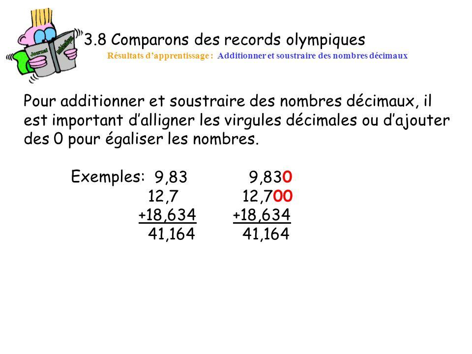 3.8 Comparons des records olympiques