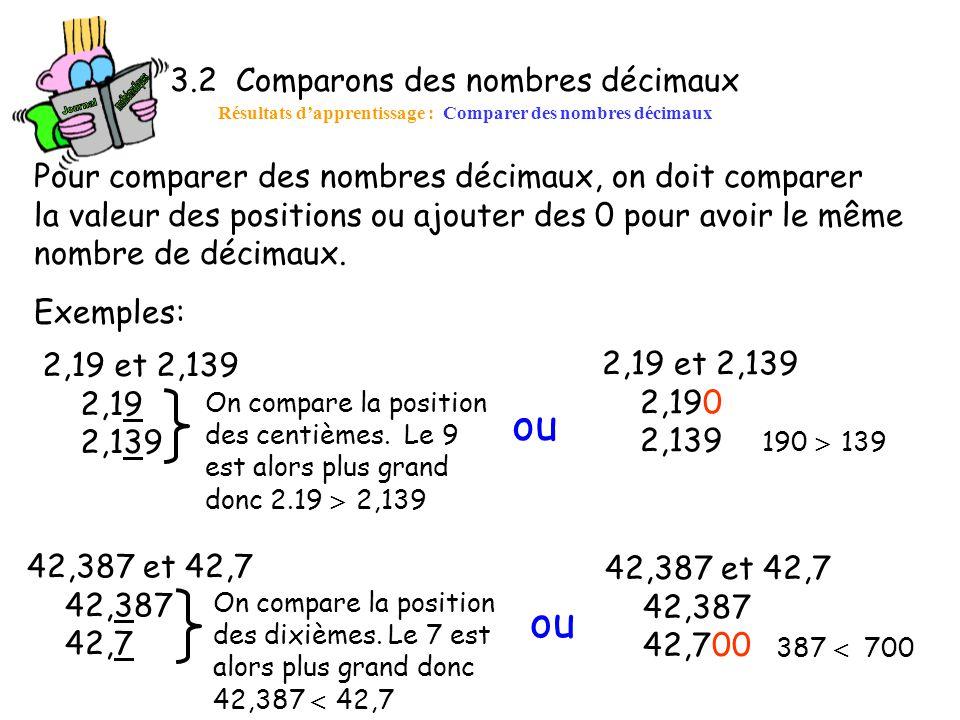 ou ou 3.2 Comparons des nombres décimaux