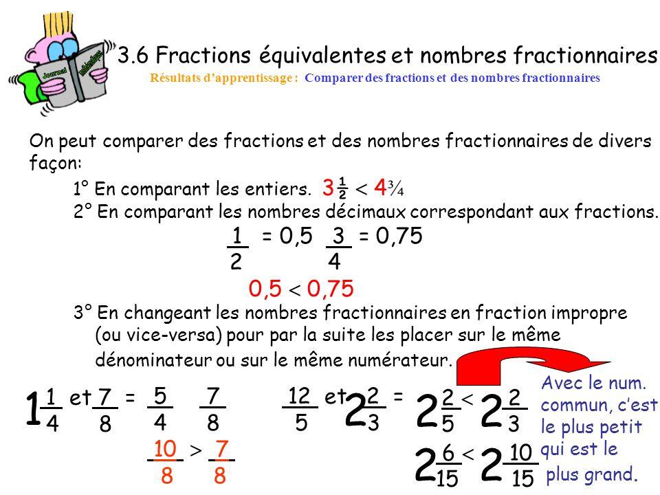 1 2 2 2 2 2 3.6 Fractions équivalentes et nombres fractionnaires 2 4