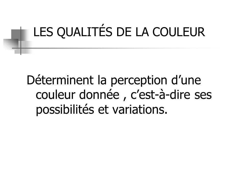 LES QUALITÉS DE LA COULEUR