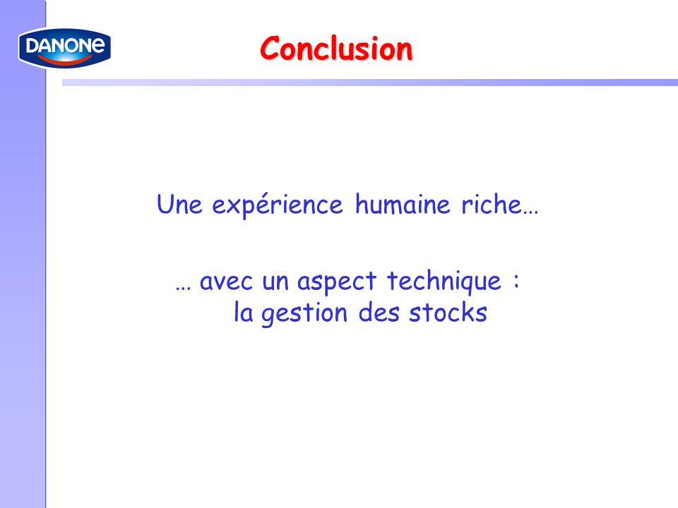 Conclusion Une expérience humaine riche…