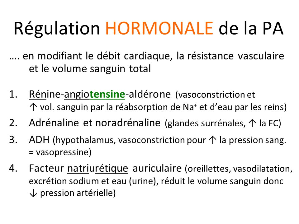 Régulation HORMONALE de la PA