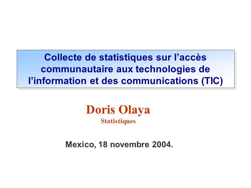 Collecte de statistiques sur l'accès communautaire aux technologies de l'information et des communications (TIC)