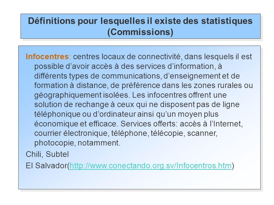Définitions pour lesquelles il existe des statistiques (Commissions)