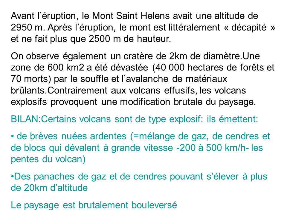 Avant l'éruption, le Mont Saint Helens avait une altitude de 2950 m