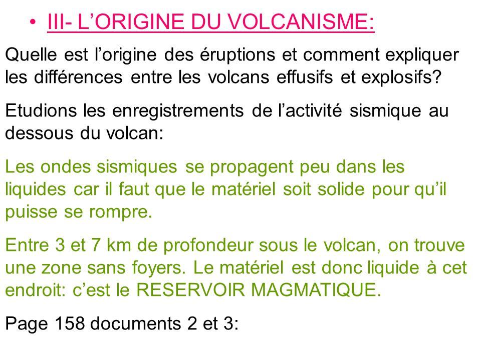III- L'ORIGINE DU VOLCANISME: