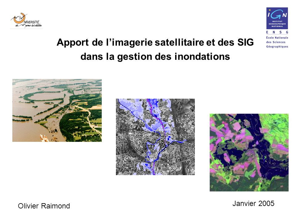 Apport de l'imagerie satellitaire et des SIG