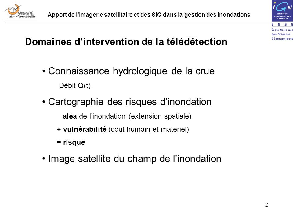 Domaines d'intervention de la télédétection