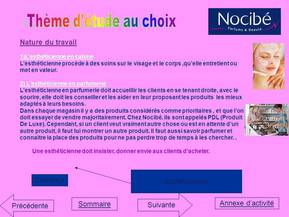 Thème d étude au choix Nature du travail Esthéticienne Client(e)s