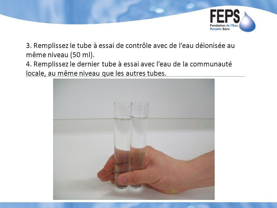 3. Remplissez le tube à essai de contrôle avec de l'eau déionisée au même niveau (50 ml).