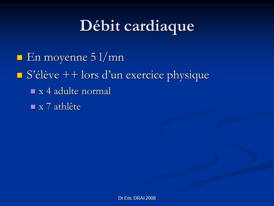 Débit cardiaque En moyenne 5 l/mn