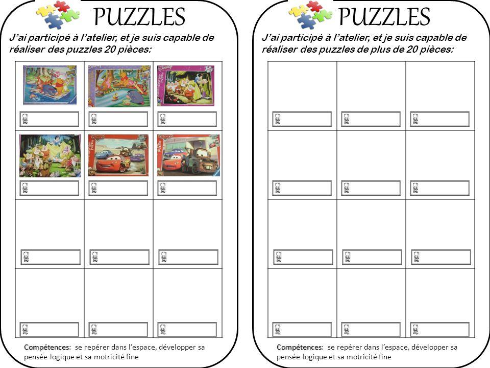 PUZZLES PUZZLES. J'ai participé à l'atelier, et je suis capable de réaliser des puzzles 20 pièces: