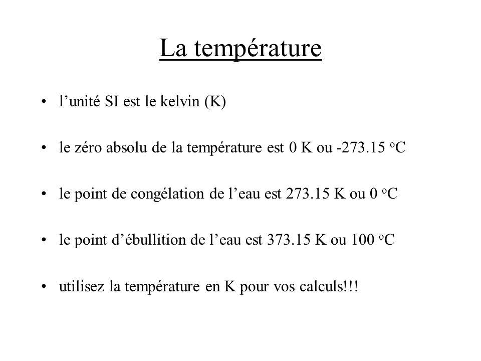 La température l'unité SI est le kelvin (K)