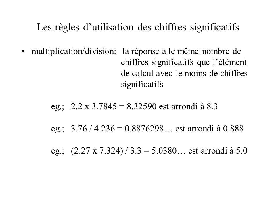 Les règles d'utilisation des chiffres significatifs