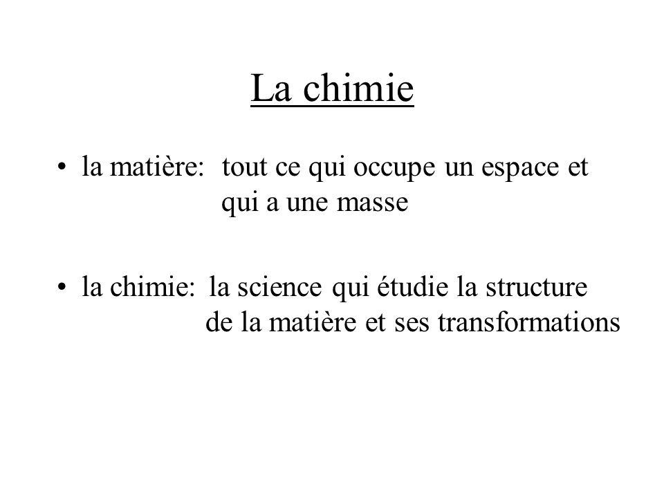 La chimie la matière: tout ce qui occupe un espace et qui a une masse