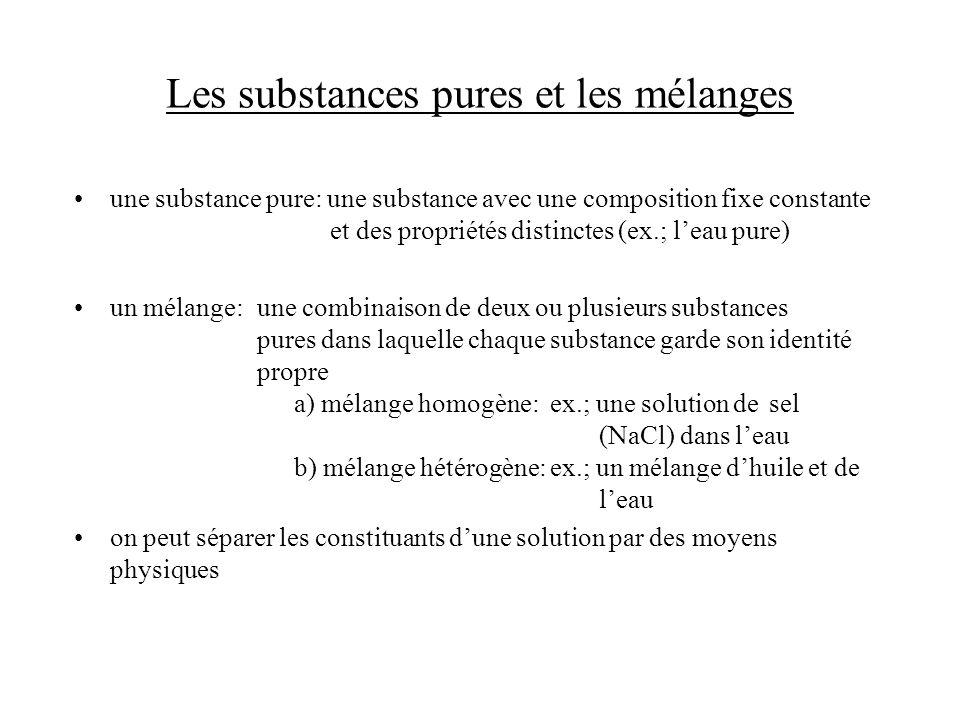Les substances pures et les mélanges