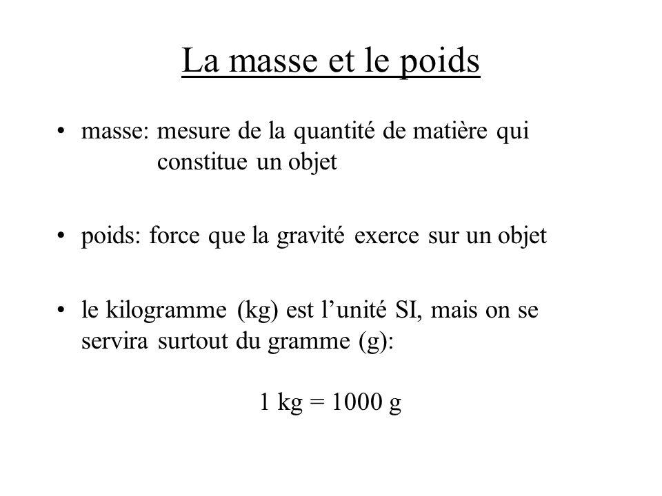 La masse et le poids masse: mesure de la quantité de matière qui constitue un objet.