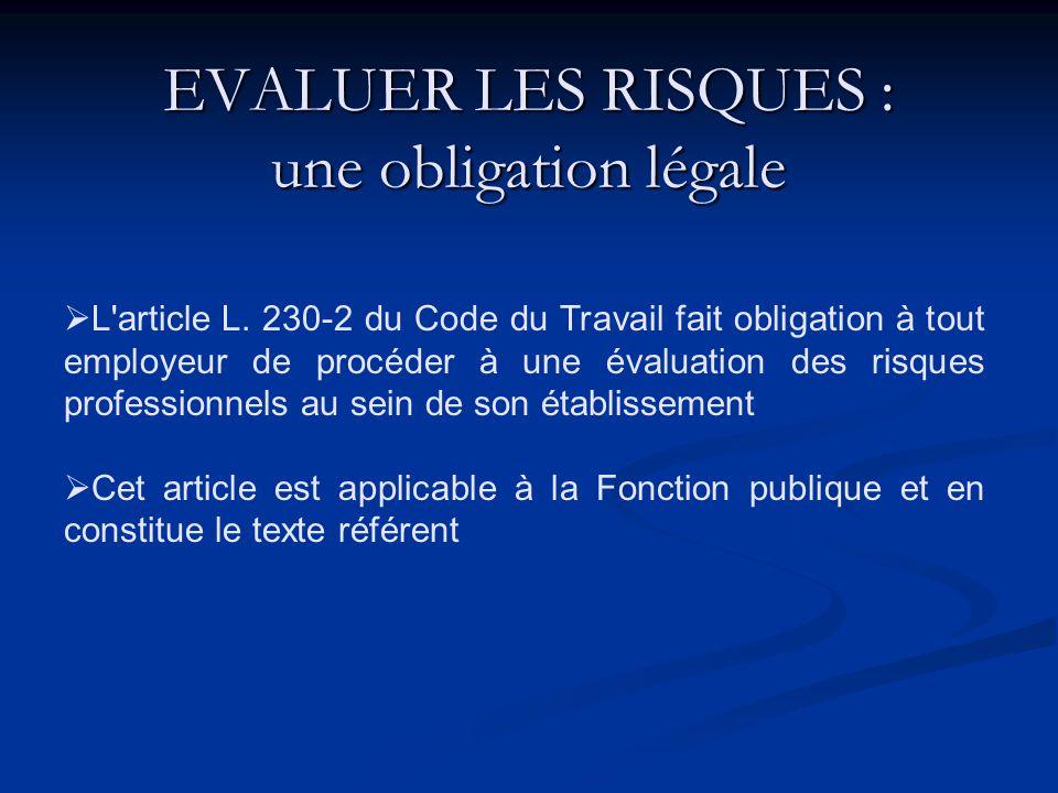 ... article L 230-2 du Code du Travail. L'obligation générale de