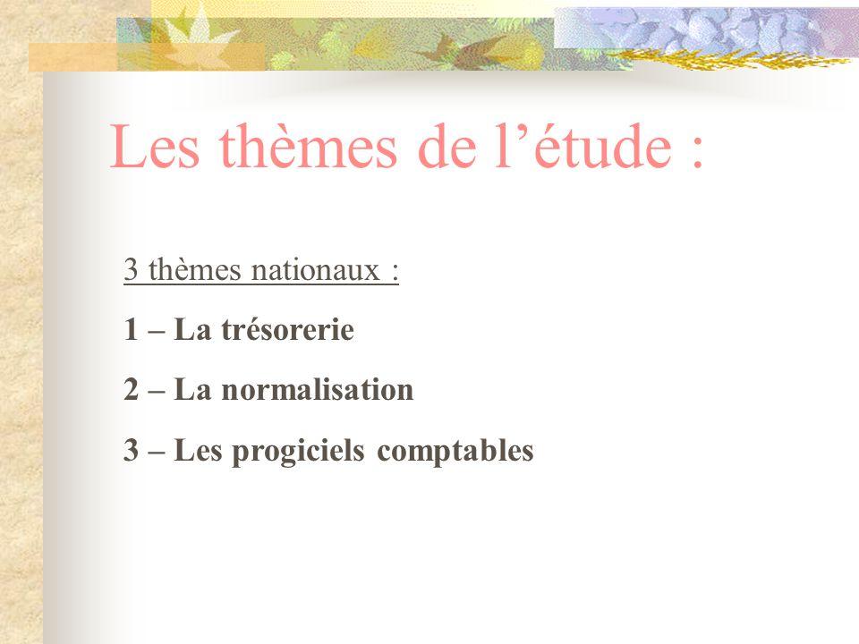 Les thèmes de l'étude : 3 thèmes nationaux : 1 – La trésorerie