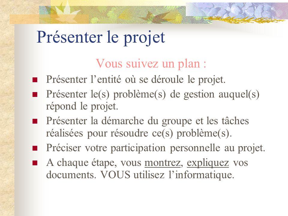 Présenter le projet Vous suivez un plan :