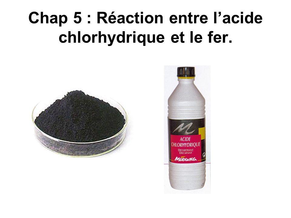 Chap 5 : Réaction entre l'acide chlorhydrique et le fer.