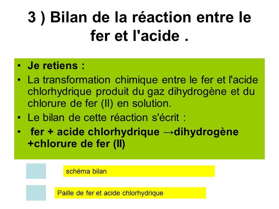 3 ) Bilan de la réaction entre le fer et l acide .
