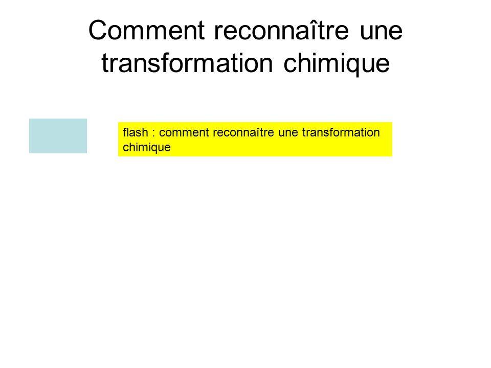 Comment reconnaître une transformation chimique