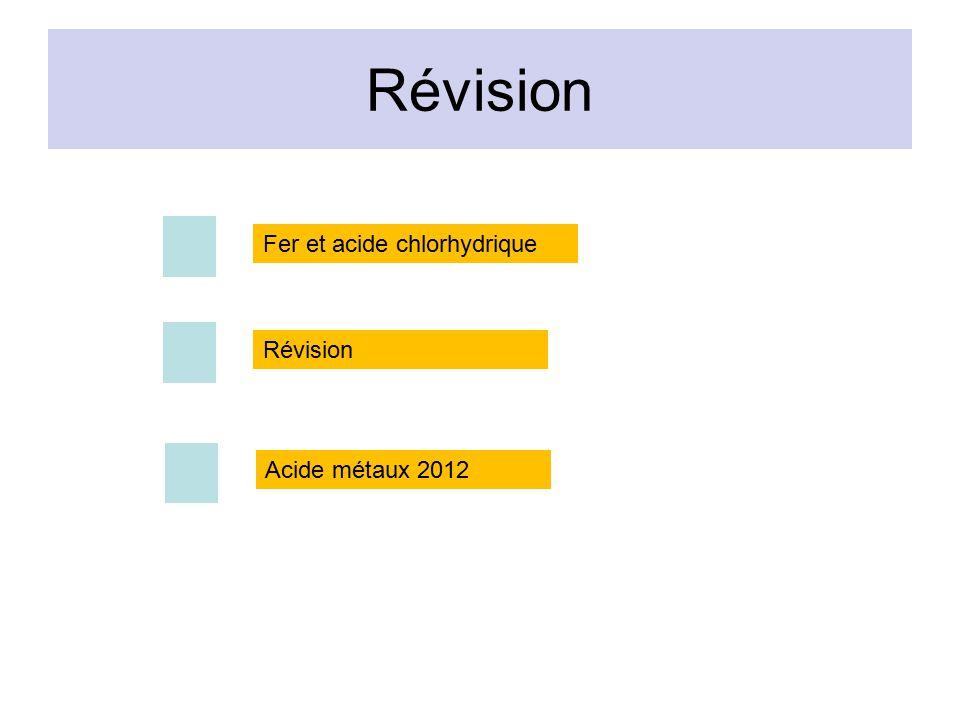 Révision Fer et acide chlorhydrique Révision Acide métaux 2012