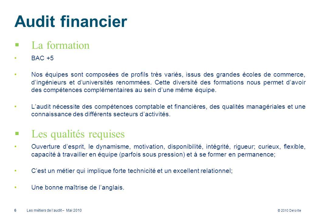 Audit financier La formation Les qualités requises BAC +5