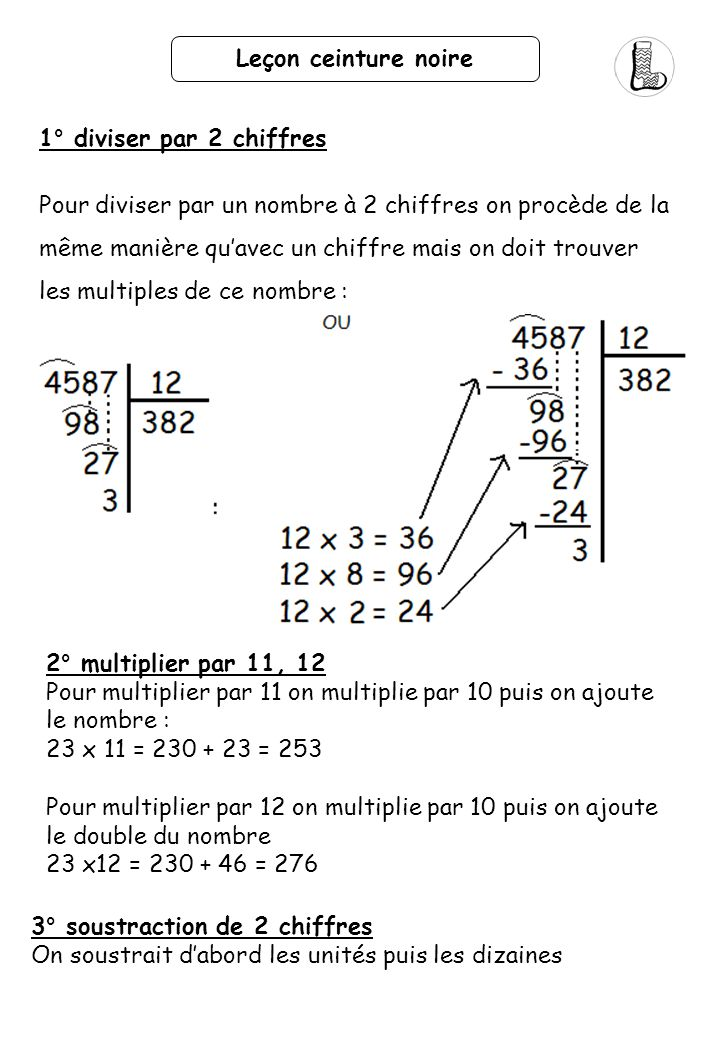 Leçon ceinture noire 1° diviser par 2 chiffres.