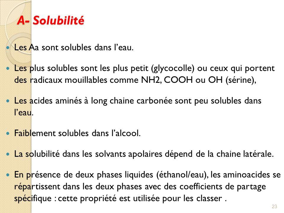 A- Solubilité Les Aa sont solubles dans l'eau.