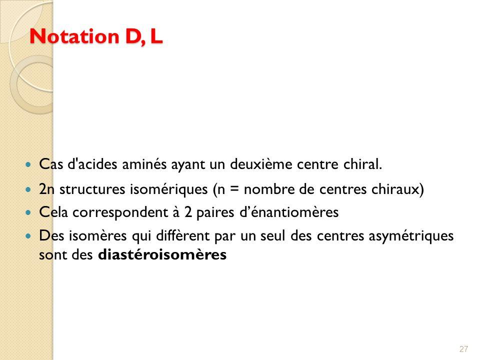 Notation D, L Cas d acides aminés ayant un deuxième centre chiral.