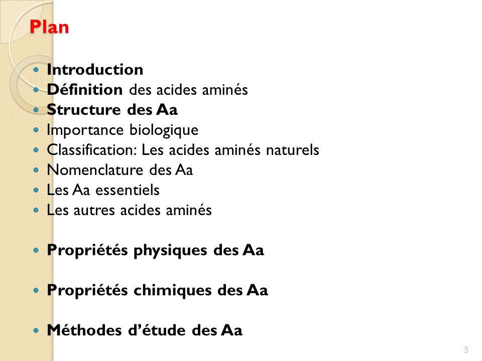 Plan Introduction Définition des acides aminés Structure des Aa