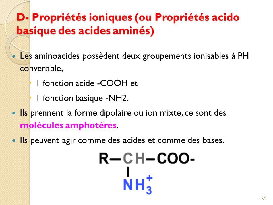 D- Propriétés ioniques (ou Propriétés acido basique des acides aminés)