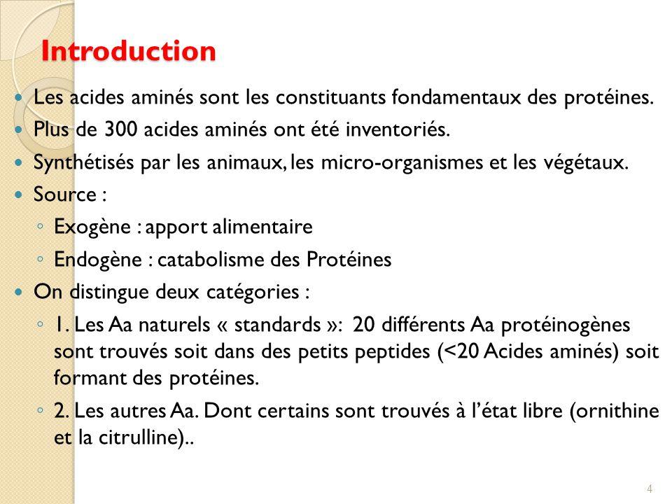 Introduction Les acides aminés sont les constituants fondamentaux des protéines. Plus de 300 acides aminés ont été inventoriés.
