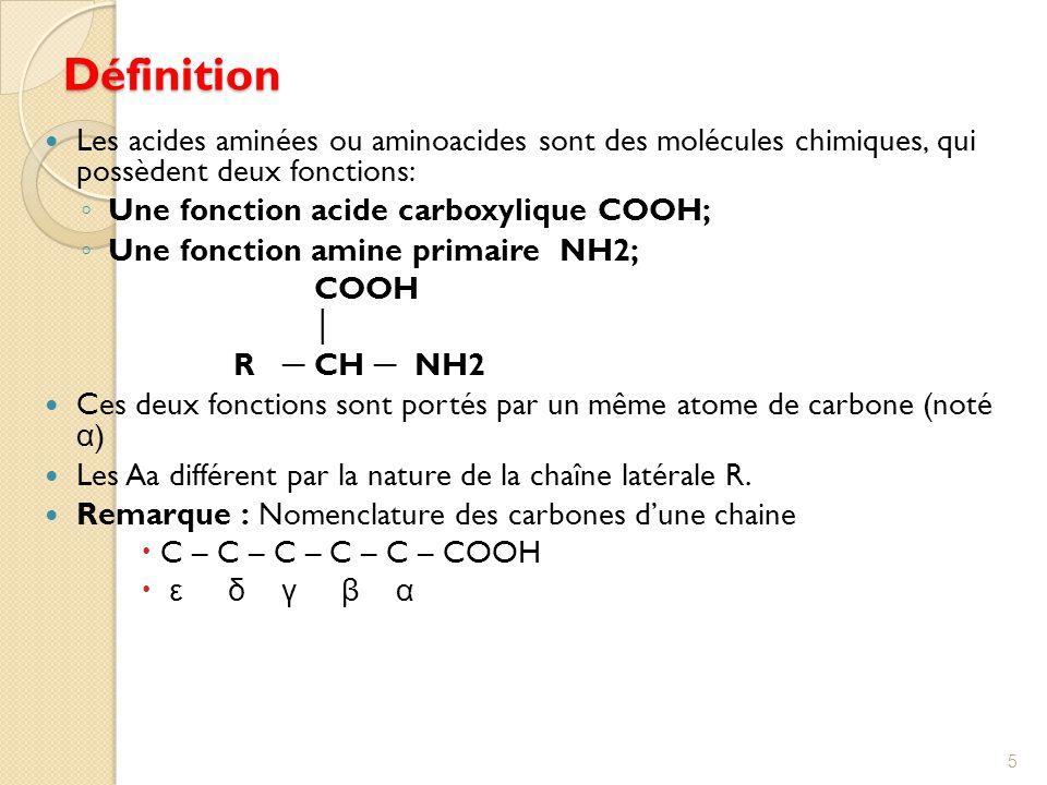 Définition Les acides aminées ou aminoacides sont des molécules chimiques, qui possèdent deux fonctions: