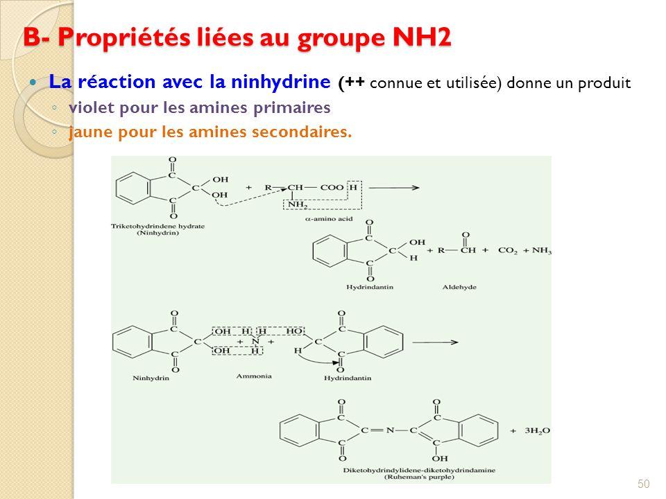 B- Propriétés liées au groupe NH2