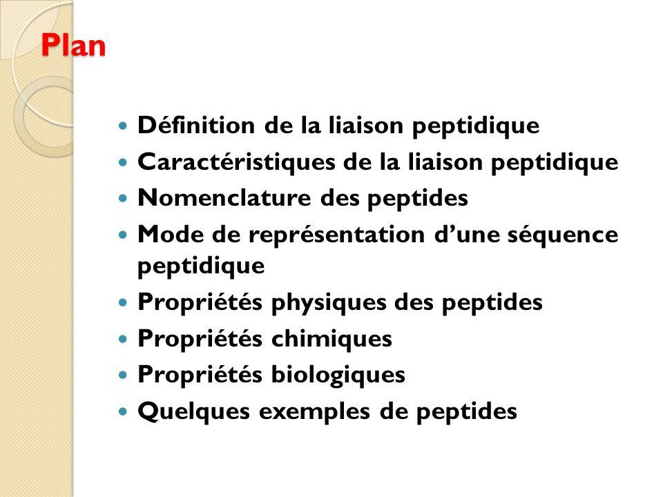 Plan Définition de la liaison peptidique