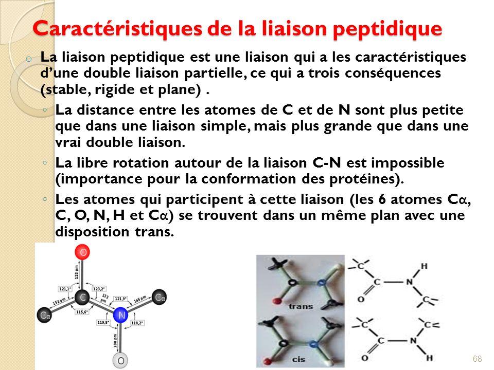 Caractéristiques de la liaison peptidique