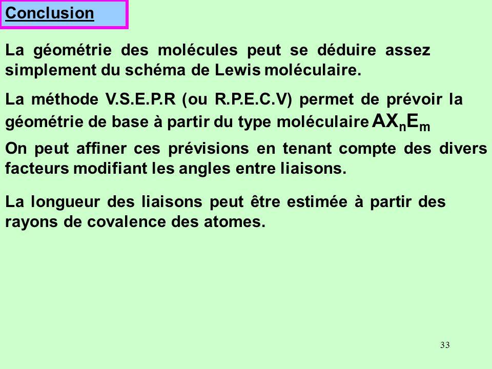 Conclusion La géométrie des molécules peut se déduire assez simplement du schéma de Lewis moléculaire.