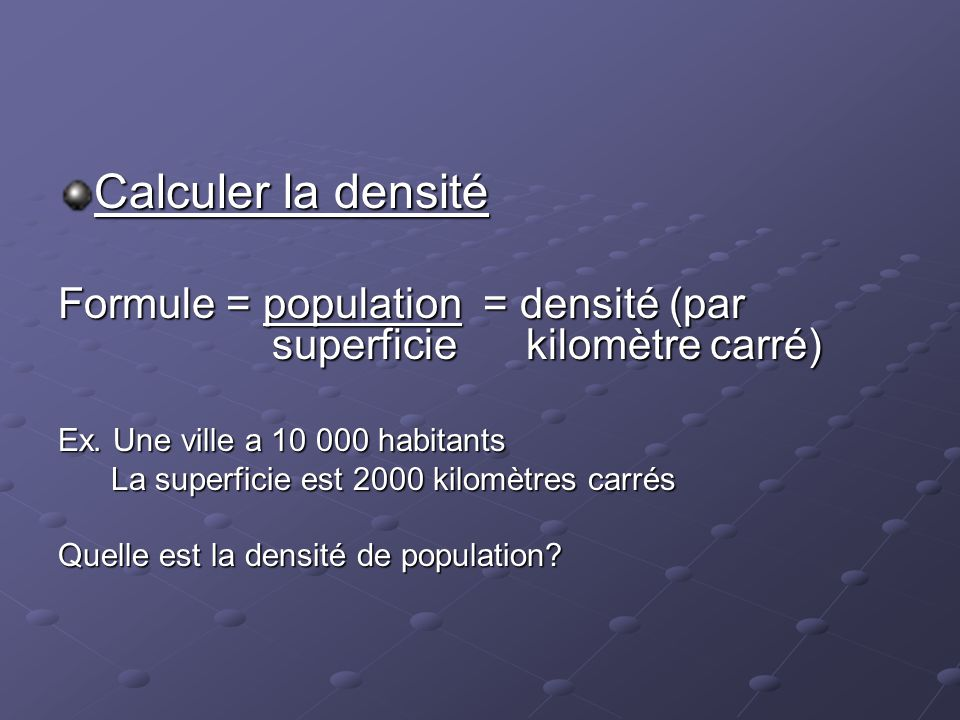 Les habitants du canada ppt video online t l charger for Calculer une superficie en m2