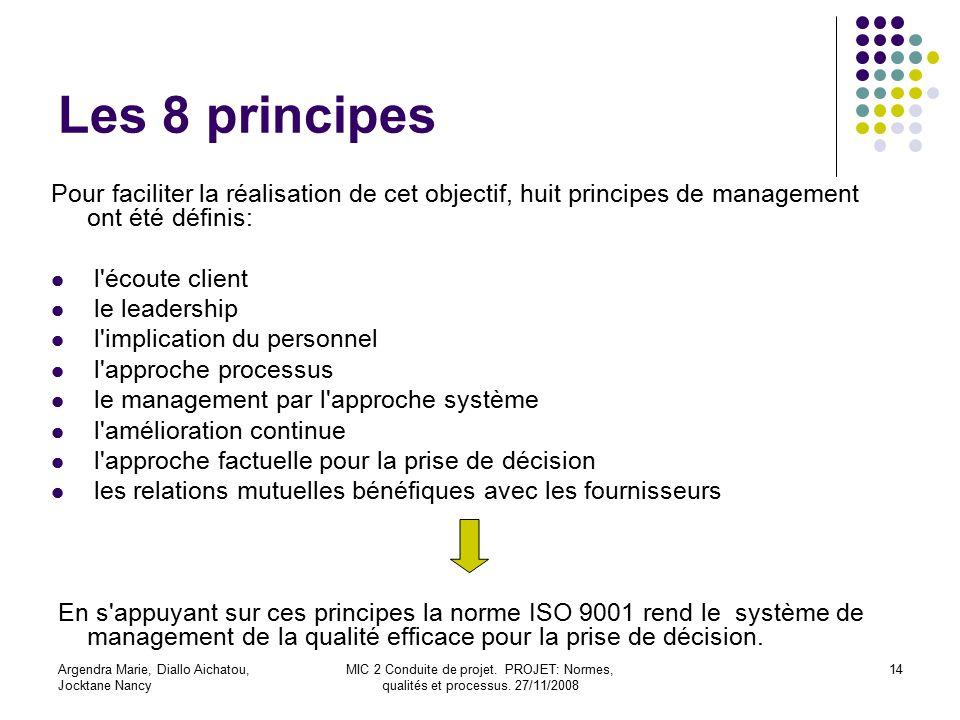 Les 8 principes Pour faciliter la réalisation de cet objectif, huit principes de management ont été définis: