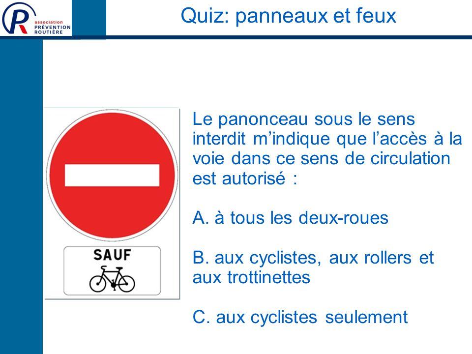 Quiz: panneaux et feux Le panonceau sous le sens interdit m'indique que l'accès à la voie dans ce sens de circulation est autorisé :