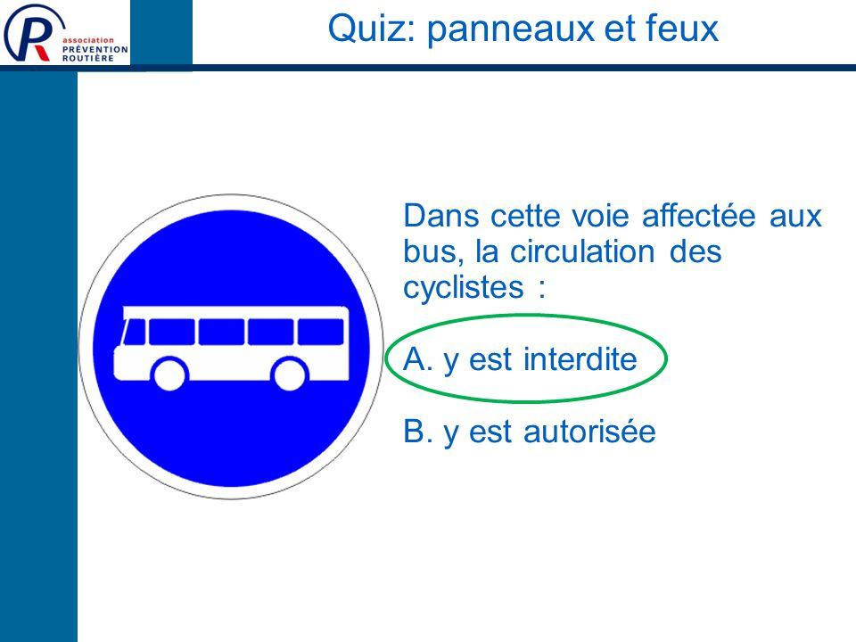 Quiz: panneaux et feux Dans cette voie affectée aux bus, la circulation des cyclistes : A. y est interdite.