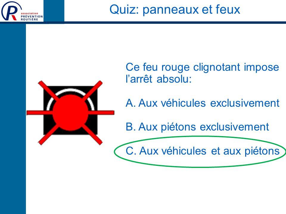Quiz: panneaux et feux Ce feu rouge clignotant impose l'arrêt absolu: