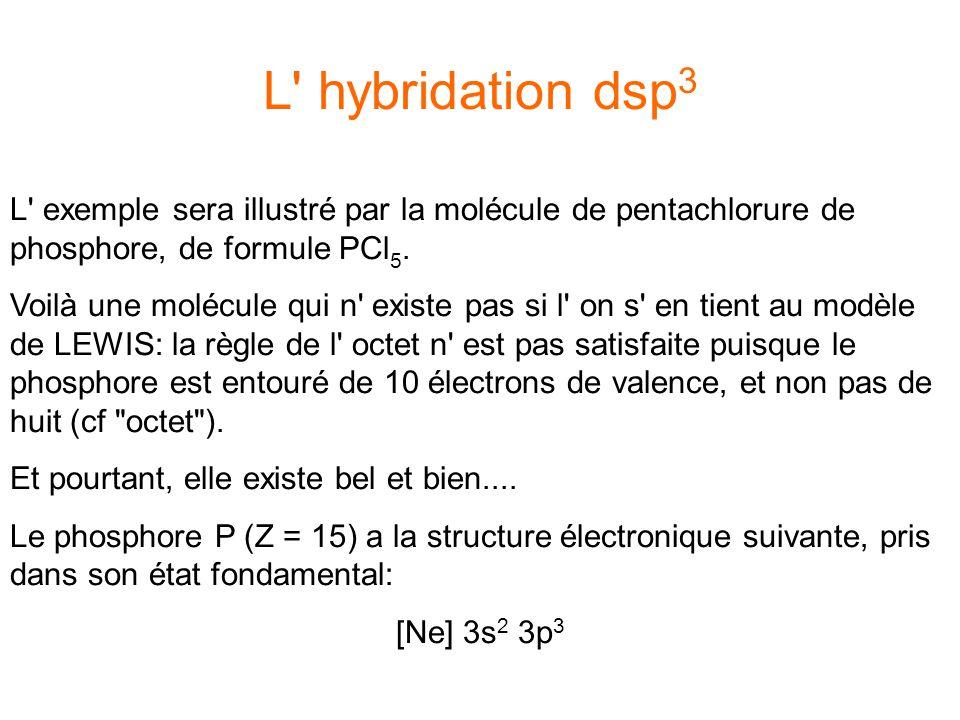 L hybridation dsp3 L exemple sera illustré par la molécule de pentachlorure de phosphore, de formule PCl5.