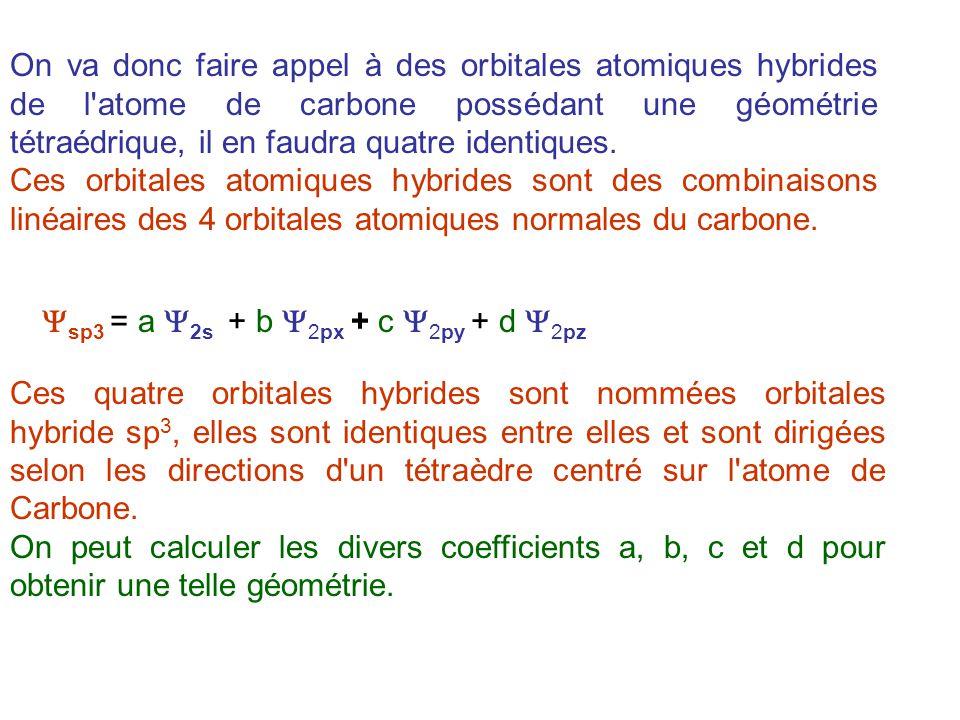 On va donc faire appel à des orbitales atomiques hybrides de l atome de carbone possédant une géométrie tétraédrique, il en faudra quatre identiques.