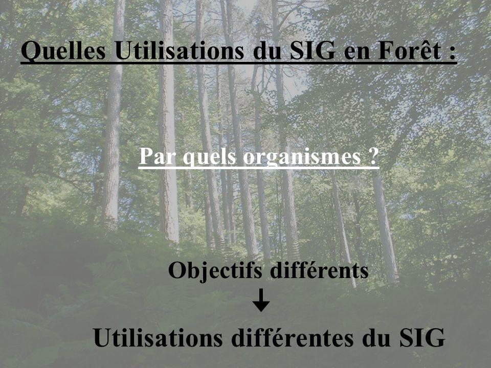 Quelles Utilisations du SIG en Forêt :