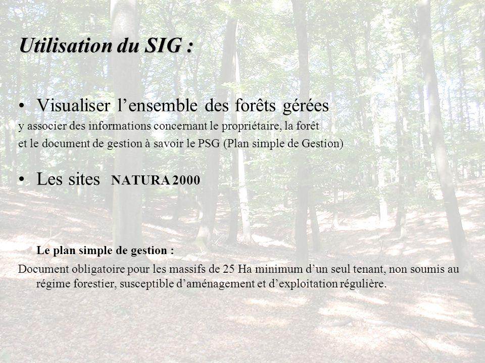 Utilisation du SIG : Visualiser l'ensemble des forêts gérées