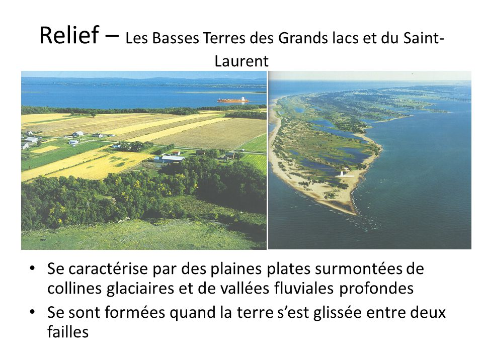 Relief – Les Basses Terres des Grands lacs et du Saint-Laurent